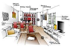 Croquis architecture intérieure  -salon et bibliothèque rouge.