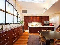kitchen cabinets. warm amber tones.