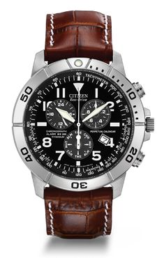 3d0fcade51 Citizen Men s Eco-Drive Perpetual Calendar Chronograph Watch - - The  Eco-Drive Perpetual Calendar features a titanium case and a black dial.