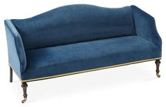Lydia Camelback Settee, Peacock Velvet Now: $1,596.00 							Was: $2,195.00