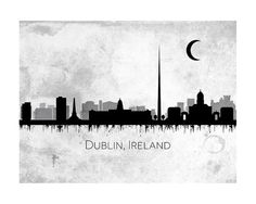 Dublin Ireland Faux Grey Stone Skyline Abstract by ArtDistinctions