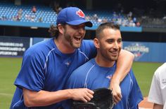 Toronto Blue Jays Jason Grilli & Marco Estrada Baseball Quotes, Baseball Stuff, Babe Ruth, American League, Toronto Blue Jays, Go Blue, Chicago Cubs, Blue Bird, My Boys