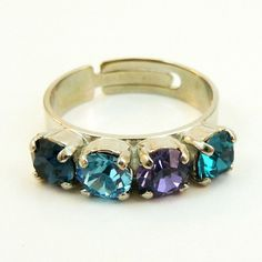 Peacock Ring Purple Teal Blue Navy Adjustable Cocktail by TIMATIBO