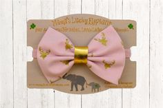 Fabric Bow Headband, Fabric Bow Clip-on ||  Pink Fabric Bow with Gold Metallic Elk and Pink Sparkle Elastic Band or Clip Mounted by mamasluckyelephant on Etsy