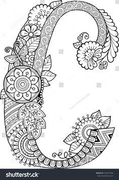 Coloring Pages Letter C Elegant Coloring Book for Adults Floral Doodle Letter Hand Drawn Adult Coloring Book Pages, Free Coloring Pages, Printable Coloring Pages, Coloring Books, Colouring, Flower Alphabet, Alphabet Art, Spanish Alphabet, Preschool Alphabet