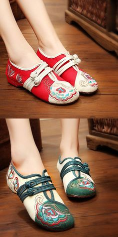 3867206a3ba US 19.89 Vintage Chinese Embroidered Flower Mary Janes Buckle Casual Flat  Loafers Cheap Womens Shoes