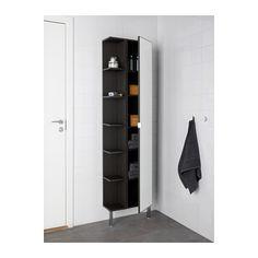 LILLÅNGEN High cabinet with mirror door, black-brown black-brown ...
