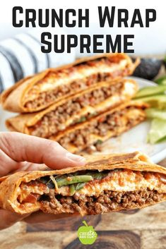 #ad An easy & healthy Mexican recipe using beef, tortillas, salsa, diced tomatoes, and cheese.  This homemade crunch wrap supreme is even better than Taco Bell. Watch the video and learn how to fold a crunch wrap supreme the easy way.  A simple DIY crunch wrap recipe that is yummy! #crunchwrapsupreme #tomatowellness #mexicanrecipe #crunchwrap #tacobell via @http://www.pinterest.com/createkidsclub