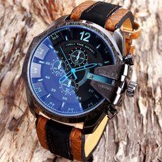 Luxury Mens Faux Leather Band Big Face Date Quartz Sport Wrist Watch 2Styles