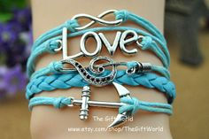 Silver Infinity Anchors bracelet Love Music charm by TheGiftWorld, $4.98 Hand-crafted bracelet fashion personality,best friendship gift.