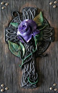 Purple rose celtic cross polymer clay journal by ClaymanPL on Etsy