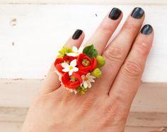 """Ring """"Amapola"""", porcelana fría, anillo de flores, amapola, flores joyas, flores de arcilla polimérica, anillo de la simpatía, anillo verano"""