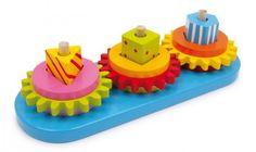 Cóż za świetny pomysł na zabawę! Barwnie kolorowane wkładane elementy z drewna, m. in. koła zębate. Poza świadomością form i kolorów dzieci będą odkrywać świat mechaniki po raz pierwszy!