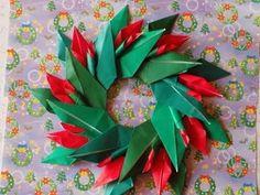 """折り紙のクリスマスリース  折り方作り方 """"Christmas wreath"""" Origami"""