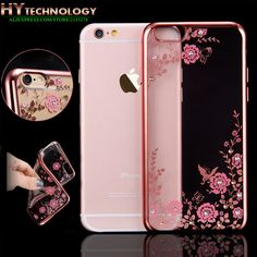 >> Click to Buy << Transparent Bling Diamond Crystal Flower Plating TPU Soft Case For Apple iPhone 6s 6 7 plus 5s SE 5 Rubber Phone Covers Cases #Affiliate