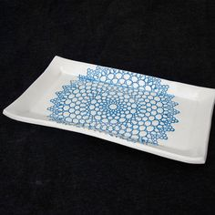 Blue and White Lace Doily Design Handmade Ceramic Pottery Butter Dish Tray