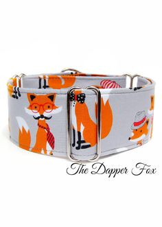 What did the fox say?! Isn't this grey martingale dog collar so adorable, little dapper foxes! By CollarTown