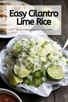This fast and easy Cilantro Lime Rice recipe is the perfect quick and easy, bright and fresh side dish for Mexican meals. Side Dish Recipes, Veggie Recipes, Healthy Dinner Recipes, Mexican Food Recipes, Cooking Recipes, Mexican Meals, Lime Recipes Vegetarian, Lime Recipes Dinner, Mexican Cooking