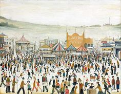 lowry fun at the fair Daisy Nook original painting Laurence Stephen Lowry, R. Fun Fair at Daisy Nook signed and dated 'L. LOWRY (lower right) oil on canvas 28 x 36 in. Salford, Tate Britain, Spencer, Fun Fair, English Artists, Portraits, Daisy, Urban Life, Urban Landscape