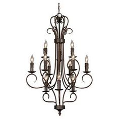 "Illuminate your foyer or dining room in style with this scrolling chandelier, showcasing a rubbed bronze finish and 12 lights.  Product: ChandelierConstruction Material: MetalColor: Rubbed bronzeFeatures:  UL and cUL listedDry location listed144"" Wire length 120"" Chain lengthAccommodates: (12) 60 Watt bulbs - not includedDimensions: 41"" H x 24"" Diameter"