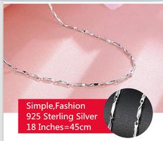 Wholesale Fashion 925 Solid Silver lots 5pcs Women Chain Necklace 18 inches New #Unbranded #Chain