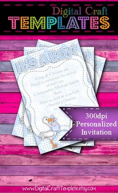 Personalized Printable Invitations | It's a Boy | Stork | Baby Shower | Birth Announcement | Photo Card | #13b