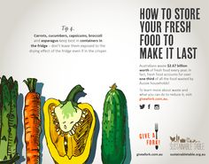 Tips for reducing food waste - carrots, capsicum and asparagas Fruit And Veg, Fruits And Vegetables, Reduce Waste, Food Waste, Cooking Ideas, Home Remedies, Infographics, Food To Make, Carrots