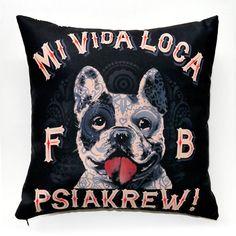 Dog Decorative Pillow, cushion French Bulldog Mi Vida Loca by PSIAKREW on Etsy