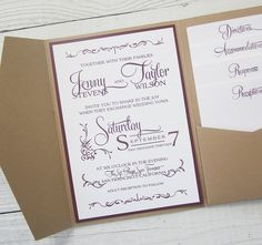 I like the pocket pieces on this one, am leaning towards no border colour and printed in colour Rustic Kraft Wedding Invitation - Pocket Country Twine Purple Maroon Elegant.