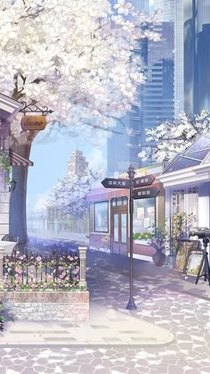 Street with flower trees illustration art Anime Backgrounds Wallpapers, Anime Scenery Wallpaper, Aesthetic Pastel Wallpaper, Pretty Wallpapers, Aesthetic Backgrounds, Animes Wallpapers, Aesthetic Wallpapers, Wallpapers Ipad, City Wallpaper