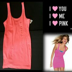 NWT LOVE PINK tank dress New with tags Victoria's Secret LOVE PINK tight tank dress in neon coral. Sold out online and in stores. Layer over and under your fav's to create so many different looks. NO TRADES PLEASE! OFFERS WELCOME THROUGH OFFER FEATURE ONLY PLEASE! NO LOWBALLS PINK Victoria's Secret Dresses Mini