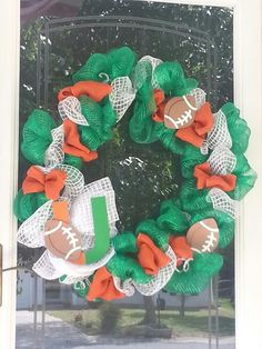 Miami Hurricane mesh wreath