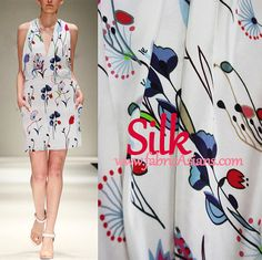 Blue red white fabric. Blue Red floral prints on 100% white silk fabric.Blue Floral Silk. Crepe Silk. 16mumi. Width 44""