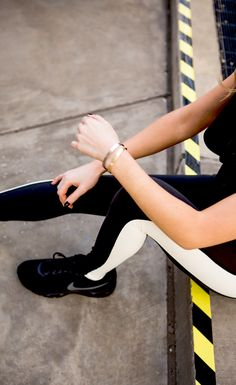 ready to run with @krystalschlegel in the tuxedo legging from the kate spade new york x beyond yoga collection.
