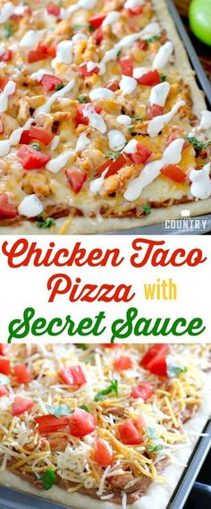 Chicken Taco Pizza with Secret Sauce recipe from The Country Cook and how I get TWO meals with only one meal preparation with Glad Second meal: Chicken Tacos with Del Taco's Secret Sauce! Mexican Dishes, Mexican Food Recipes, Secret Sauce Recipe, Del Taco, Cooking Recipes, Healthy Recipes, Skillet Recipes, Cooking Gadgets, Sauce Recipes