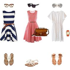 """the """"Italian Vacation"""" look of casual dress, and pretty strappy sandals"""