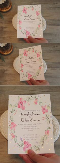 spring pink flower foiled polka dot wedding invitations EWFI009