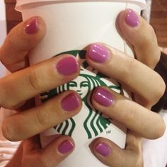 @Makeup.com's editor rocking her new essie gel mani in 'frangipani.' The perfect transition color for fall for those bright color lovers.