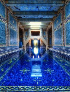 Hurst Castle Indoor Pool. I was fortunate to visit Hurst Castle and see this beautiful pool with inlaid gold trim tiles.