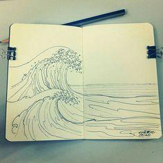 May 2012 Drawing: Waves Sketchbook Inspiration, Art Sketchbook, Waves Sketch, Drawing Sketches, Art Drawings, Sketching, Photo Deco, Pen Art, Art Inspo