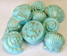 Beautiful Drawer Pulls Knobs Mermaid SPECIAL SALE SET Of 9 Anchor Nautical Seashells  Sea Shell Gilded Gold