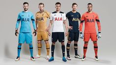 Tottenham Hotspur's home, away and third kits 2016. Dele Alli (home), Jan Vertonghen (away) and Harry Kane (third) wear Spurs' new Under Armour kits with Hugo Lloris and Michel Vorm displaying what the goalkeepers will wear.