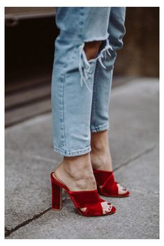 Blue Heels Outfit, Heels Outfits, Velvet Shoes, Red Velvet, Velvet Style, Mules Shoes, Heeled Mules, Red Mules, White Shirt And Blue Jeans