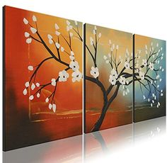Ode-Rin+Art+–+100%+Hand+Painted+Large+White+Bloom+Flowers+5+Pieces+Wall+Art+Magnolia+Denudata+Floral+Framed+Oil+Painting+for+Living+Room+Home+Decor,+Ready+to+Hang+–+(24″x28″+x+3+Panels)