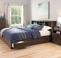 Platform Storage Bed King Size Bedroom Furniture Modern Frame Wood Headboard #KingFurniture #Modern