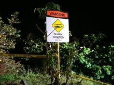 When this sign is up, don't go in the ocean.  This is a photo posted by Ramsay Wharton  4 hours ago via mobile  at Live reports on Sunrise on Hawaii News Now from Oahu's North Shore where warning signs are posted following yesterday's shark attack of a local surfer. 4/3/12