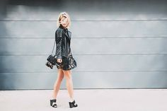 @sosageblog in a luxe leather look that's perfect for cool summer nights