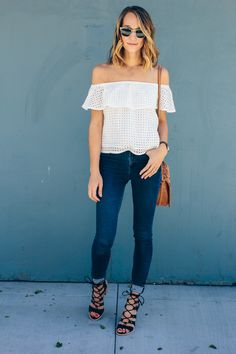 off shoulder top, street style,  white shirt and jeans, lace up sandals, welden saddle bag — via @TheFoxandShe