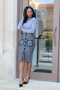 Shades Of Grey  OUTFITSweater: Similar (here) (here) Skirt: c/o Chicwish (here)Shoes: Similar (here) budget friendly (here) (here)  Fashion by Prissy Savvy