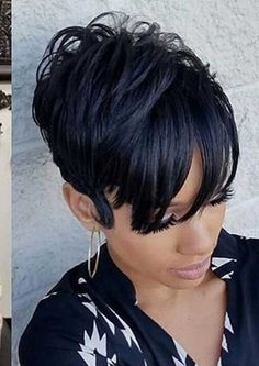 These short black hairstyles really are fabulous. Short Black Hairstyles, Short Hair Cuts, Girl Hairstyles, Short Hair Styles, Pixie Cuts, Black Pixie Haircut, Short Quick Weave Hairstyles, Short Pixie, Formal Hairstyles